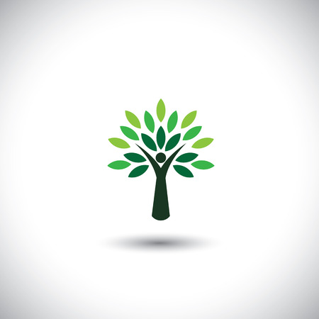 environmental conservation: people tree icon with green leaves - eco concept vector.
