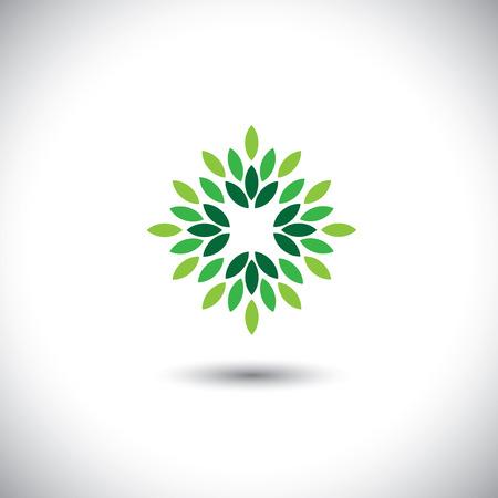 stilizzato vettore icona foglie verdi disposte in modello - concetto di eco vettore.