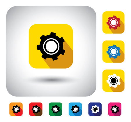 gear or cogwheel icon on a flat design button on white background with many colorful variants of the cog wheel vector graphic.  Vector