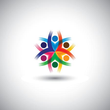 vrolijke kleurrijke medewerkers en leidinggevenden eenheid en diversiteit - vector graphic.