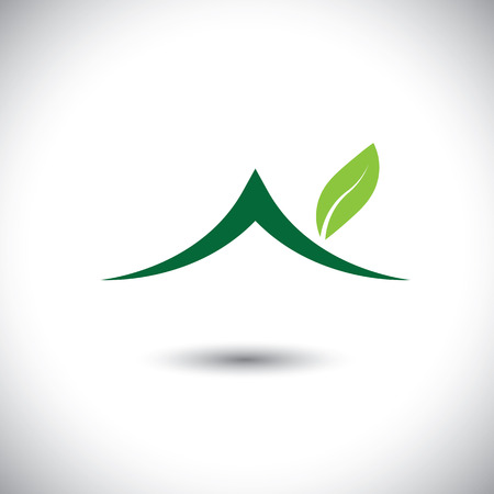 green roof: Green house icon with leaves - eco concept vector.