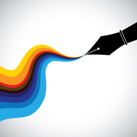 fountain pen: fountain pen nib and flowing colorful ink  - creativity concept vector. This graphic also represents artistic ability, drawing, painting, writing talent and skill, creativity
