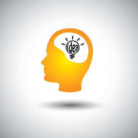 man abstract: human face & brain with idea bulb - concept vector icon. This graphic also represents problem solving, genius mind, clever person, smart thinking, inventive mind, innovative man, abstract thought