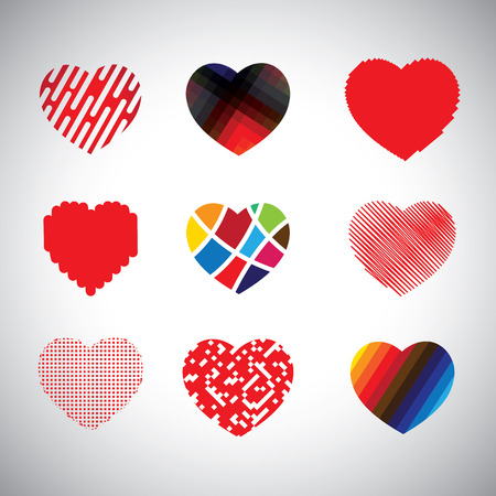 vector hearts set of hand drawn abstract icons. This graphic can also represent love signs & symbols made of lines, colorful & grungy shapes, etc Vector