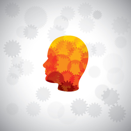 vector concept - puzzle head of human face with gears & cogs. This graphic of human side face also represents intelligence, complex brain, human cyborg, machine man, human computer, etc Vector