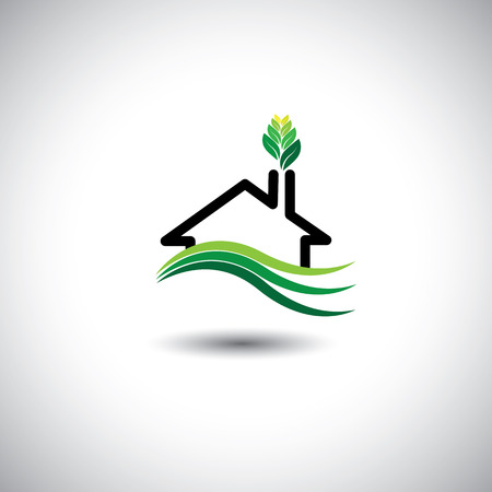 housing development: eco home concept vector icon. This graphic can also represent sustainable housing development, man nature harmony & balance, ecological balance and sustenance