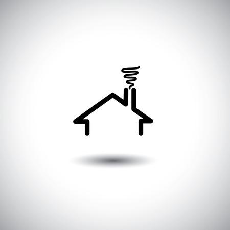Haus-Konzept-Vektor-Symbol mit Dach, Schornstein und Rauch. Diese Grafik kann auch repräsentieren Immobilien, Wohnung, Wohnung, Wohnort, etc Illustration