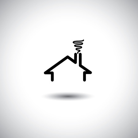 flat roof: home concept vector icon with roof, chimney & smoke. This graphic can also represent real estate property, flat, apartment, residence, etc