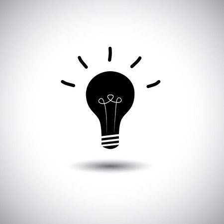 smartness: creative idea light bulb on white background - concept vector icon. This graphic can represent genius, high IQ, intelligence, brilliance, smartness, cleverness, etc Illustration