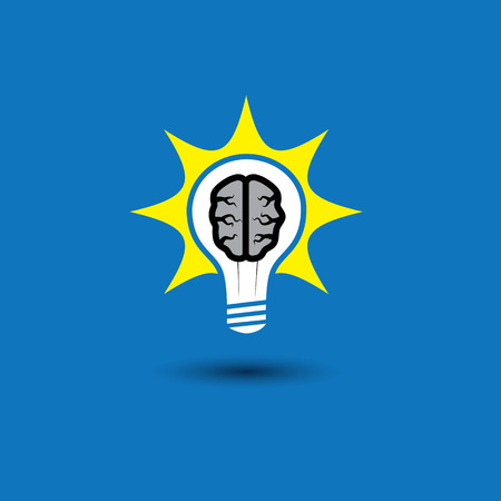 inventive: idea bulb with brain glowing with solutions - concept vector icon. This graphic also represents creative problem solving, genius mind, smart thinking, inventive mind, innovative man, abstract thought Illustration