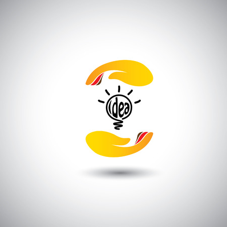 intellectual property: idea light bulb & hand for protection - concept vector icon. This graphic also represents protecting intellectual property, incubating & nurturing ideas & thoughts Illustration