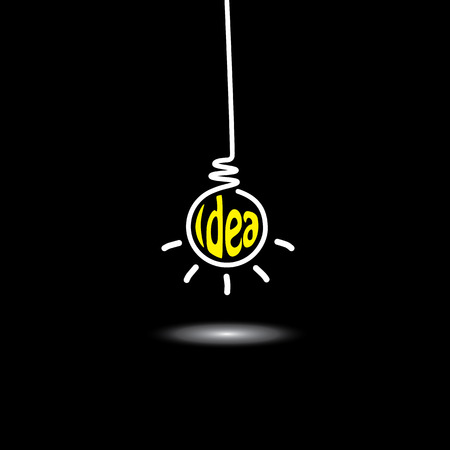 inventive: idea light bulb hanging in black background - concept vector icon. This graphic also represents creative problem solving, genius mind, smart thinking, inventive mind, innovative man, abstract thought