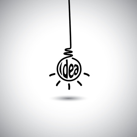 solutions icon: abstract idea bulb hanging & glowing - concept vector icon. This graphic also represents creative problem solving, genius mind, smart thinking, inventive mind, innovative man, abstract thought