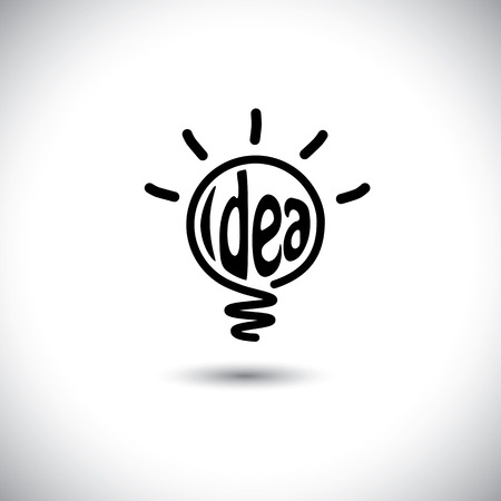 inventive: abstract idea bulb glowing - concept vector icon. This graphic also represents creative problem solving, genius mind, smart thinking, inventive mind, innovative man, abstract thought Illustration