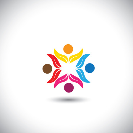 friends having fun: people icons, friends together, kids playing - concept vector icon. This graphic in circle also represents unity, solidarity, teamwork, friendship, eco team, children having fun