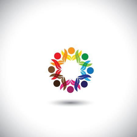 ni�os divirtiendose: Iconos de la gente, la unidad de la comunidad, empleados reuni�n - concepto de icono de vector. Este gr�fico en el c�rculo tambi�n representa la unidad, la solidaridad, el trabajo en equipo, la amistad, el equipo ecol�gico, ni�os y ni�os que se divierten Vectores