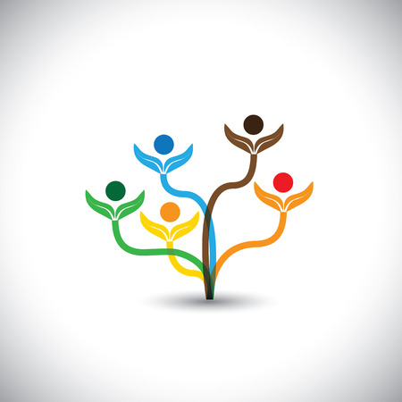 team effort: eco vector icon - family tree and teamwork concept. This graphic illustration also represents team effort, unity, togetherness, school children, eco concept, nature conservation, etc Illustration