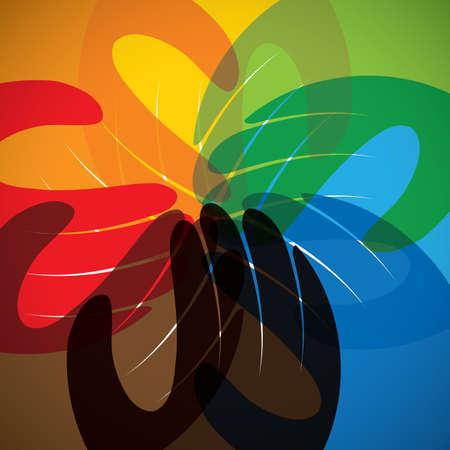 compromiso: icono del vector del concepto de la asociación, la amistad, el trabajo en equipo. Este gráfico en el círculo también representa la unidad, la solidaridad, los niños y los niños, el compromiso, la gente de la comunidad