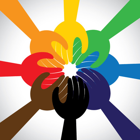 pledge: group of hands taking pledge, promise or vow - concept vector icon. This graphic in circle also represents unity, solidarity, teamwork, commitment, people friendship