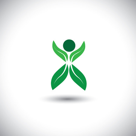 eco concept vector icon - person made of leaves & plant. This graphic illustration also represents attitude change, novelty, integration, adaptation, concern for nature and environment, conservation Illustration