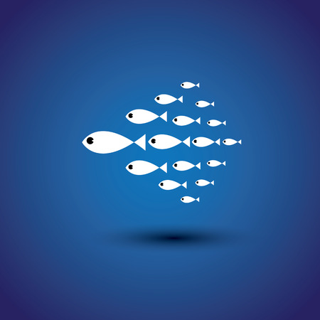 school of fish: colorful school of fishes - leader & leadership vector graphic.