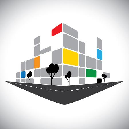 commercieel kantoor hoogbouw van de skyline van de stad.