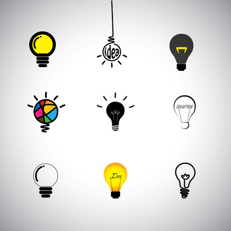 canny: concept icons set of different kinds idea & light bulbs.