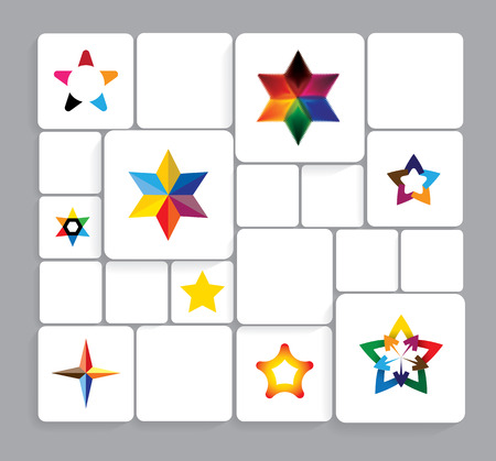 pentagram: colorful stars icons collection set.
