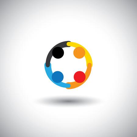 Colorido de las personas que trabajan como equipo de iconos y cooperantes. Foto de archivo - 27293482