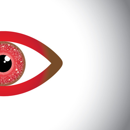 concept of watching eye - beautiful half red eyes with copy space for text.  Vector