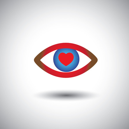 concept icon of love filled romantic eyes. This graphic of heart symbol on blue eye represents person expressing passionate love, romantic mood, etc Vector
