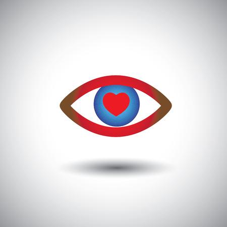 ojo azul: concepto de icono de amor llena de ojos rom�nticos. Este gr�fico del s�mbolo del coraz�n en el ojo azul representa persona que expresa el amor apasionado, el estado de �nimo rom�ntico, etc