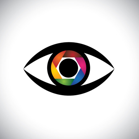 concept icon eyes as camera with colorful shutter.  Vettoriali