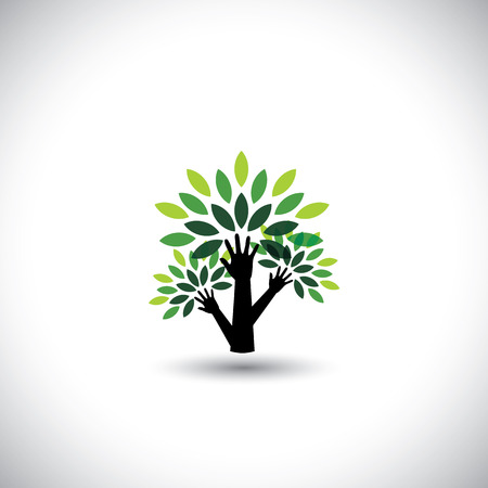 recycling, eco tree hand with leaves, helping nature Vector