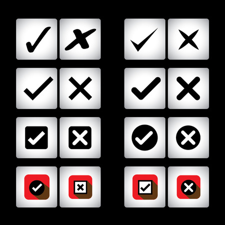 tick mark & cross sign icons set on black background.  Vector