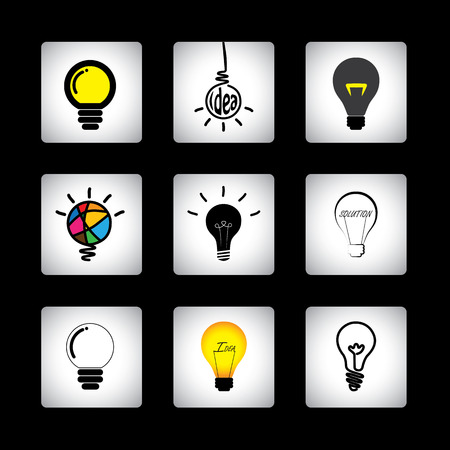 ingenious: icons set of different idea light bulbs on black background.