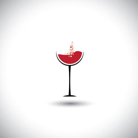 copa de vino: vino tinto con burbujas en el vaso de vino Vectores