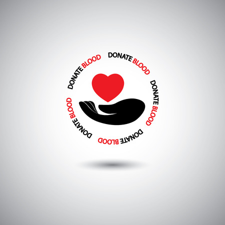 blood donation concept - hand & red heart icon on white background.  Vector