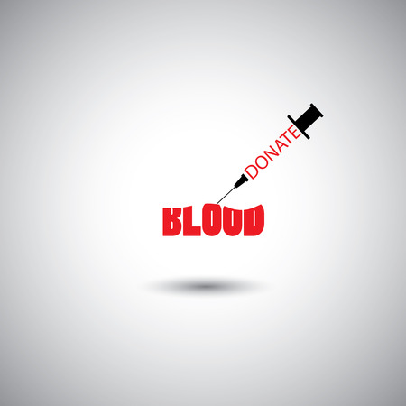 cure: blood donation concept - syringe with donate blood words on white background.