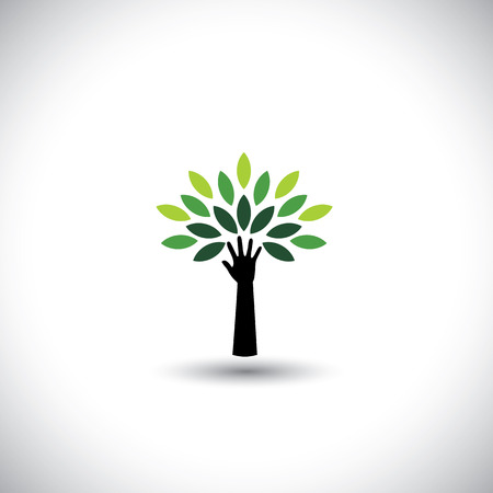 human hand & tree icon with green leaves Vector Illustration