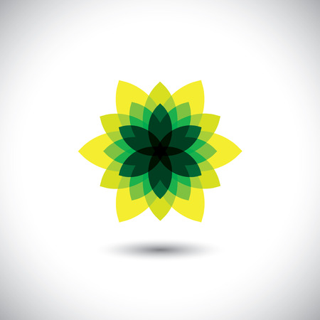 illusory: green flower icon made of illusory & fantasy leaves - eco concept