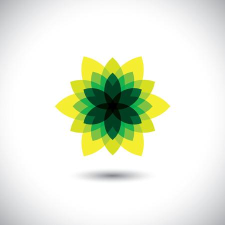illusory: icono flor hecha de fantas�a ilusoria y hojas - concepto de eco