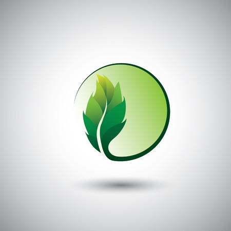 extend: green leaf icon & circle - eco concept
