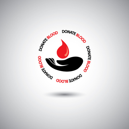donor blood type: blood donation concept - hand & red blood drop on white background.  Illustration