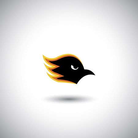 fearless: Concept vector - aggressive eagle or hawk face with flames. The graphic illustration also represents ferociousness, brutality, fierceness, mercilessness, fearlessness