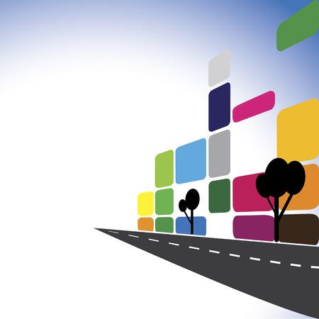 Konzept Vektor - Bunte Bürogebäude, Wohnungen, Wolkenkratzer. Die grafische Darstellung stellt auch Stadt Innenstadt mit modernen Straßen, Gebäude, Immobilienwirtschaft, Gewerbekomplexe
