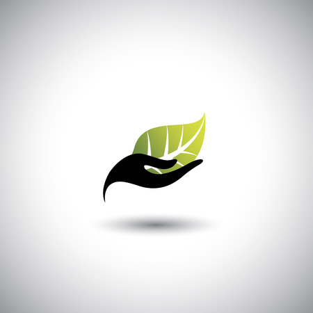 hand & leaf - nature conservation or spa concept vector. The graphic illustration also represents protecting natural resources, organic products, wellness industry, alternative health Illusztráció