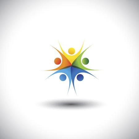 integridad: , ni�os coloridos emocionadas felices o los ni�os jugando juntos - gr�fico. Esta ilustraci�n representa tambi�n la amistad, la armon�a, la confianza, la convivencia, las reuniones, la integridad, la unidad, la comunidad