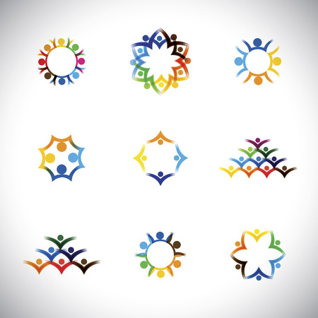 happy employee: colorful people, children, employees icons collection set -  graphic. This illustration also represents love, unity, solidarity, alliance, union, teamwork, organization, together, group Illustration