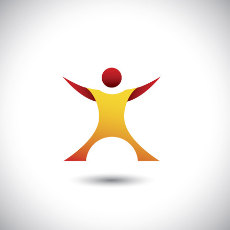 excited man: excited person after winning icon - concept  graphic. This illustration also represents happy, joyful, motivated company employee, executive or fit healthy man in gym, etc Illustration